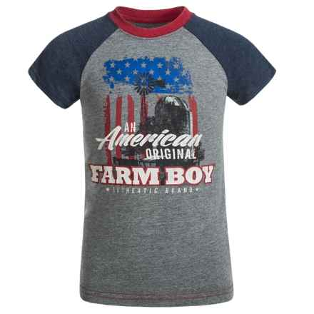 Farm Boy American Farm Boy T-Shirt - Short Sleeve (For Little Boys) in Charcoal/Navy - Closeouts