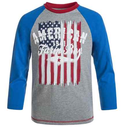 Farm Boy American Raglan T-Shirt - Long Sleeve (For Little Boys) in True Blue - Closeouts