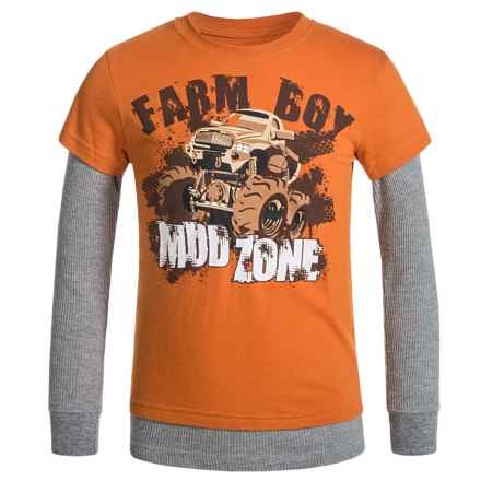 Farm Boy Mudd Zone Shirt - Long Sleeve (For Little Boys) in Orange - Closeouts