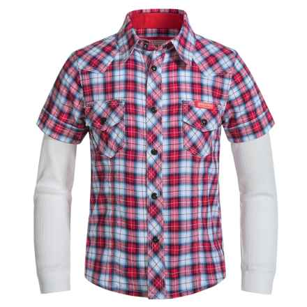 Farm Boy Plaid Shirt - Thermal Long Sleeve (For Little Boys) in Red - Closeouts