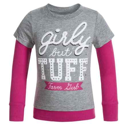 Farm Girl Girly but Tuff Shirt - Long Sleeve (For Little Girls) in Charcoal/Pink - Closeouts