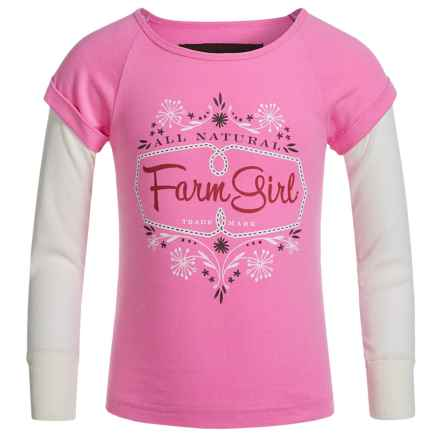 Farm Girl Logo T-Shirt - Long Sleeve (For Little Girls) in Pink/White - Closeouts