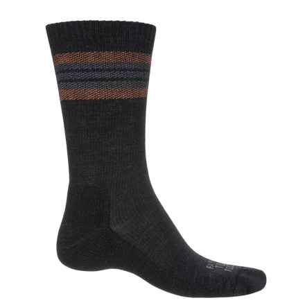 Farm to Feet Ballston Spa Striped Hiking Socks - Merino Wool, Crew (For Men) in Charcoal/Mango - Closeouts