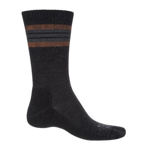Farm to Feet Ballston Spa Striped Hiking Socks - Merino Wool, Crew (For Men) in Charcoal/Mango