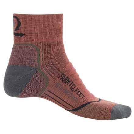 Farm to Feet Damascus Hiking Socks - Merino Wool, Quarter Crew (For Men) in Mahogany/Dark Shadow - Closeouts