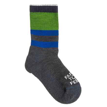 Farm to Feet Everyday Stripe Socks - Merino Wool Blend, Crew (For Kids) in Charcoal/Surf The Web - Closeouts