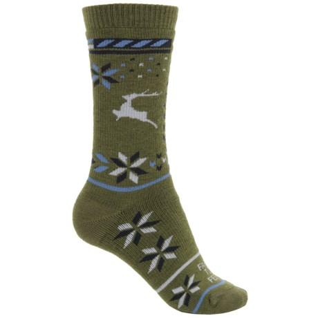 Farm to Feet Hampton Socks - Merino Wool, Crew (For Women) in Winter Moss/Charcoal