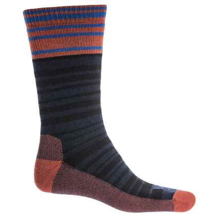 Farm to Feet Mount Airy Super Stripe Everyday Socks - Merino Wool, Crew (For Men) in Barn Red/Black - Closeouts
