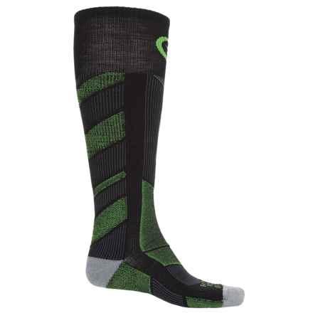 Farm to Feet Park City Ski Socks - Merino Wool, Over the Calf (For Men) in Black/Green Flash - Closeouts