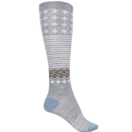 Farm to Feet Waynesboro Socks - Merino Wool, Over the Calf (For Women) in Silver Heather/Blue Fog - Closeouts