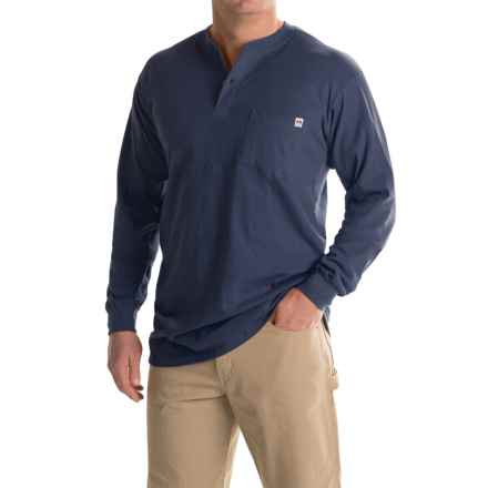 Farmall IH Henley Shirt - Long Sleeve (For Big and Tall Men) in Navy - Closeouts