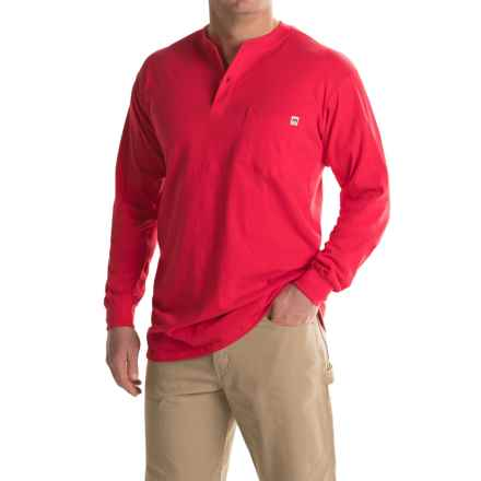 Farmall IH Henley Shirt - Long Sleeve (For Big and Tall Men) in Red - Closeouts