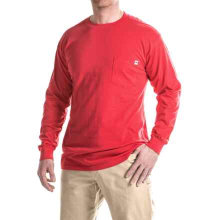 Farmall IH Pocket T-Shirt - Crew Neck, Long Sleeve (For Big and Tall Men) in Red - Closeouts