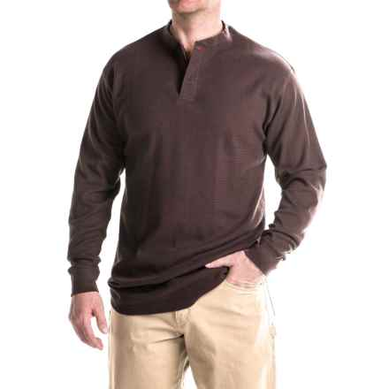 Farmall IH Thermal Henley Shirt - Long Sleeve (For Big and Tall Men) in Brown - Closeouts