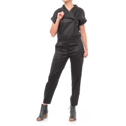 0599b1320ba4 Fate Zip-Up Jumpsuit - Short Sleeve (For Women) in Black - Closeouts