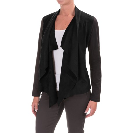 Image of Faux-Suede Front Cardigan Jacket (For Women)