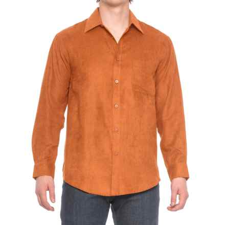 Faux-Suede Sport Shirt - Long Sleeve (For Men) in Persimmon - Closeouts