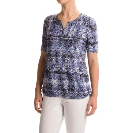 FDJ French Dressing Batik Side-Ruched Shirt - Short Sleeve (For Women) in Indigo - Closeouts