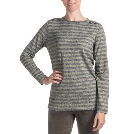 FDJ French Dressing Boat Neck Stripe Shirt - Long Sleeve (For Women) in Grey Gold Mix