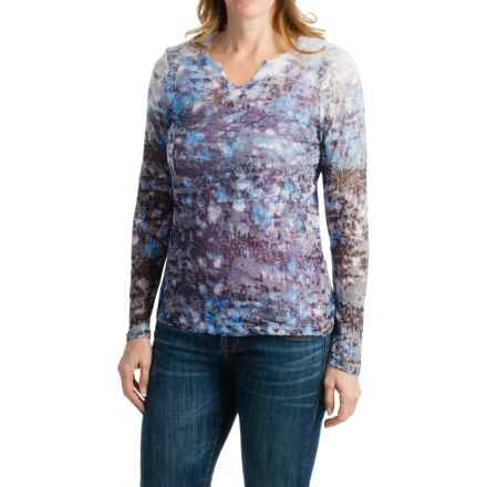 FDJ French Dressing Brush Stroke Burnout Print Shirt - Long Sleeve (For Women) in Blue - Closeouts