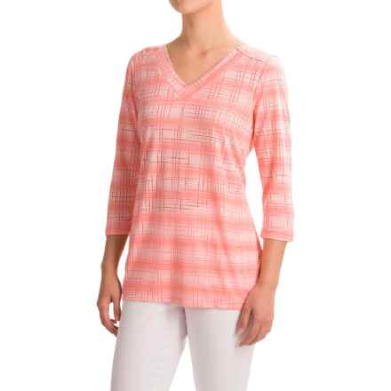 FDJ French Dressing Burnout Viscose Shirt - 3/4 Sleeve (For Women) in Peach - Closeouts