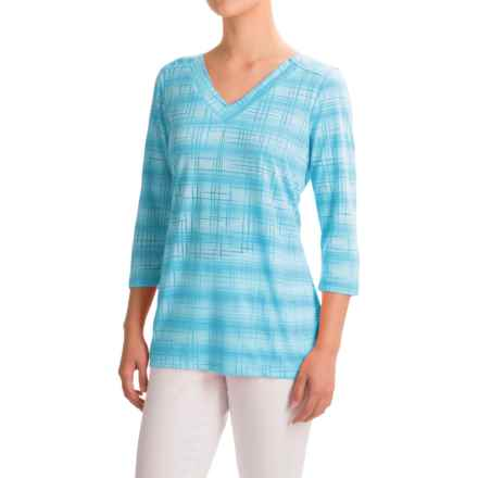 FDJ French Dressing Burnout Viscose Shirt - 3/4 Sleeve (For Women) in Turquoise - Closeouts