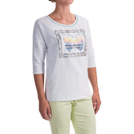 FDJ French Dressing Butterfly Portrait Tunic Shirt - 3/4 Sleeve (For Women) in White