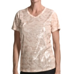 FDJ French Dressing Cheetah Print T-Shirt - Sequins, Short Sleeve (For Women) in Rope