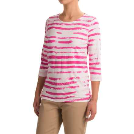 FDJ French Dressing Cloud Stripe Shirt - 3/4 Sleeve (For Women) in Fuschia - Closeouts