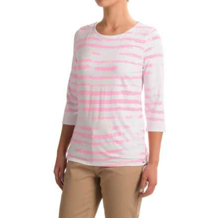 FDJ French Dressing Cloud Stripe Viscose Shirt - 3/4 Sleeve (For Women) in Pink - Closeouts