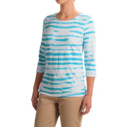 FDJ French Dressing Cloud Stripe Viscose Shirt - 3/4 Sleeve (For Women) in Turquoise - Closeouts