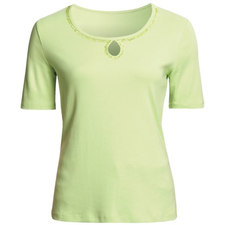 FDJ French Dressing Cotton T-Shirt - Beaded Keyhole, Short Sleeve (For Women) in Lime