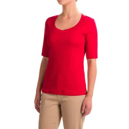 FDJ French Dressing Crochet-Trimmed Scoop Neck Shirt - Short Sleeve (For Women) in Red - Closeouts