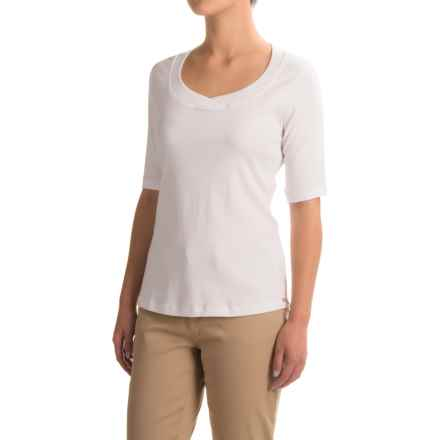 FDJ French Dressing Crochet-Trimmed Scoop Neck Shirt - Short Sleeve (For Women) in White - Closeouts