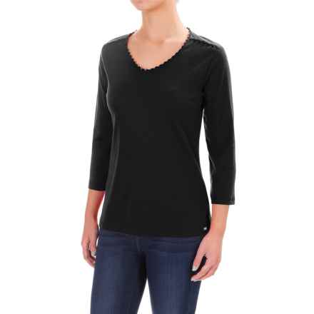 FDJ French Dressing Crochet-Trimmed V-Neck Shirt - 3/4 Sleeve (For Women) in Black - Closeouts