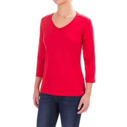 FDJ French Dressing Crochet-Trimmed V-Neck Shirt - 3/4 Sleeve (For Women) in Red - Closeouts