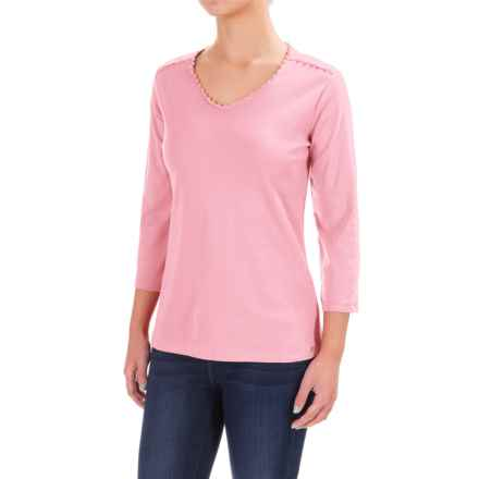 FDJ French Dressing Crochet-Trimmed V-Neck Shirt - 3/4 Sleeve (For Women) in Rosepetal - Closeouts