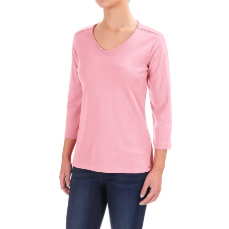 FDJ French Dressing Crochet-Trimmed V-Neck Shirt - 3/4 Sleeve (For Women) in Rosepetal