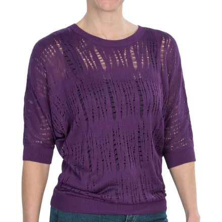 FDJ French Dressing Dolman Lacy Pointelle Sweater - Elbow Sleeve (For Women) in Eggplant - Closeouts