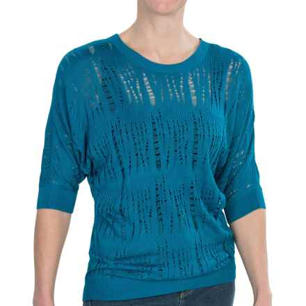 FDJ French Dressing Dolman Lacy Pointelle Sweater - Elbow Sleeve (For Women) in Persian Blue - Closeouts