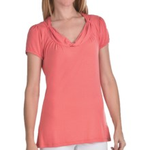 FDJ French Dressing Drapped Shirt - Stretch Viscose, Short Sleeve (For Women) in Coral - Closeouts