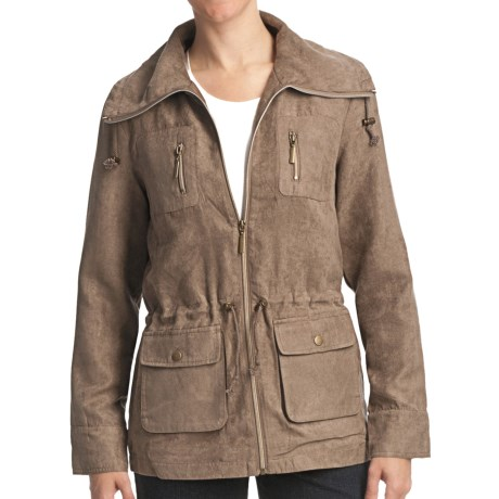 FDJ French Dressing Drawstring Jacket - Faux Suede (For Women) in Taupe