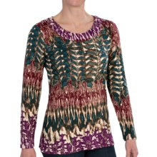 FDJ French Dressing Feather Lace Print Tunic Shirt - Long Sleeve (For Women) in Red - Closeouts