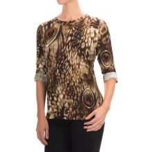 FDJ French Dressing Feather-Print Shirt - 3/4 Sleeve (For Women) in Tan - Closeouts