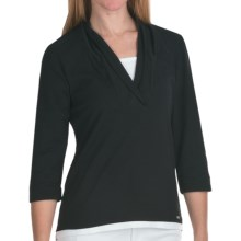 FDJ French Dressing Fooler Shirt - Shawl Collar, 3/4 Sleeve (For Women) in Black - Closeouts