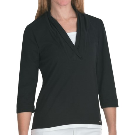 FDJ French Dressing Fooler Shirt - Shawl Collar, 3/4 Sleeve (For Women) in Black