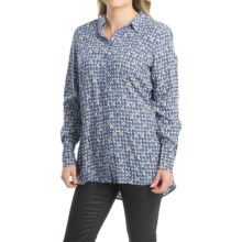 FDJ French Dressing Geo Oval Print Blouse - Long Sleeve (For Women) in Blue - Closeouts