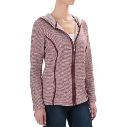 FDJ French Dressing Heather Pinstripe Hoodie - Full Zip (For Women) in Wine - Closeouts