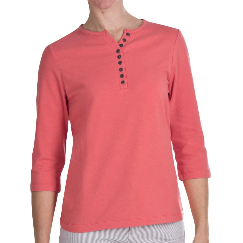 Fdj french dressing henley t shirt 3 4 sleeve cotton for 3 4 henley shirt