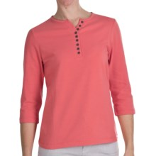 FDJ French Dressing Henley T-Shirt - 3/4 Sleeve, Cotton Jersey (For Women) in Coral - Closeouts